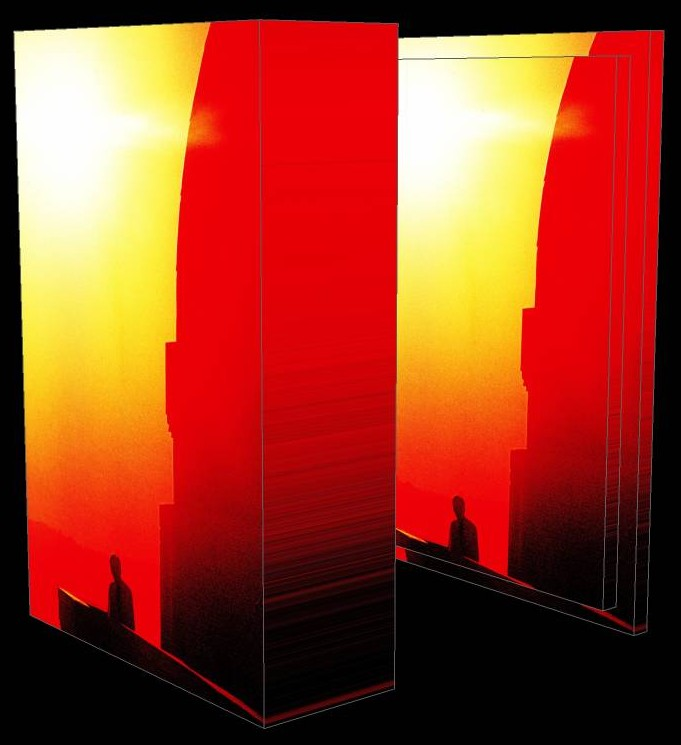 Griffith Observatory sunset 3D box - by Tony Karp - Art in the 3rd Dimension